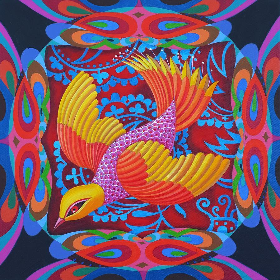 Bird Painting - Firey-tailed Flier by Jane Tattersfield