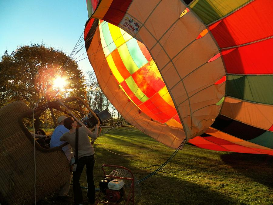 Hot Air Balloon Photograph - Firing Up by Joyce Kimble Smith
