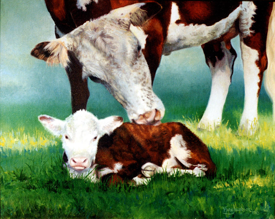 Cow Painting - First Bath by Valerie Aune