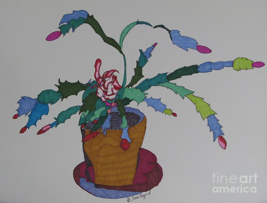 First Bloom Christmas Cactus Mixed Media by James SheppardIII