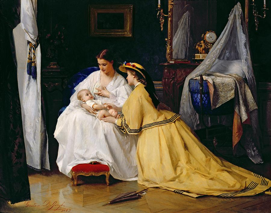 First Painting - First Born by Gustave Leonard de Jonghe