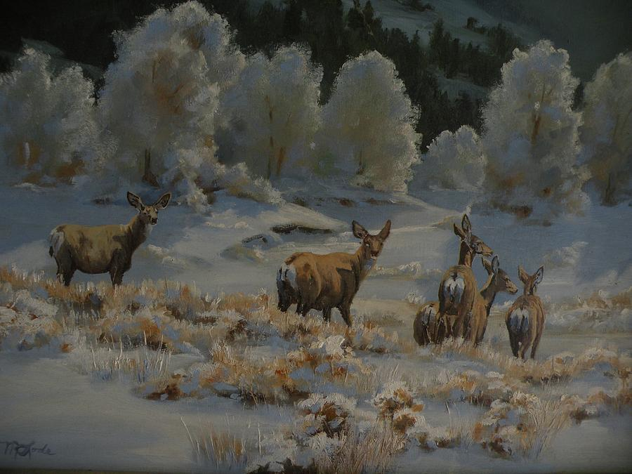 Mule Deer Painting - First Cold Snap by Mia DeLode