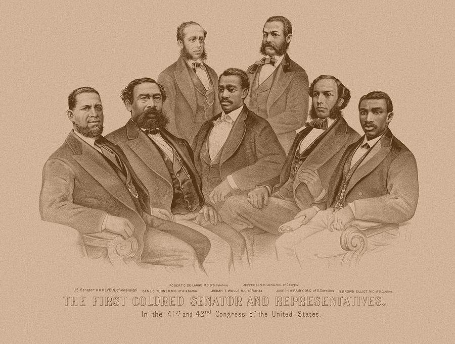 Black History Drawing - First Colored Senator And Representatives by War Is Hell Store
