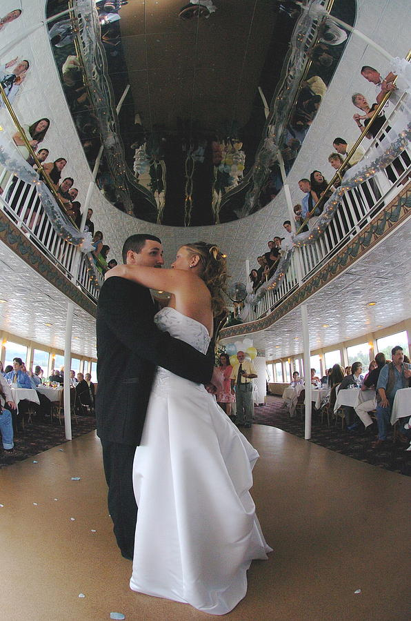 First Dance Photograph - First Dance  With Friends And Family Onlookers Aboard Yacht At Lake George New York by Mary Curtis