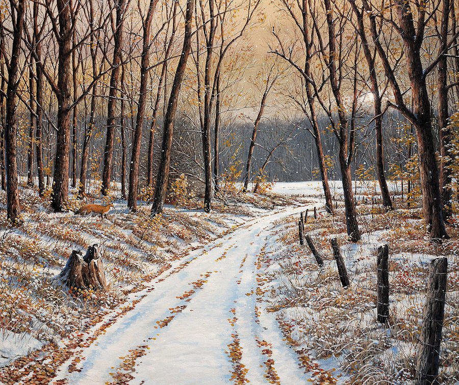 Landscape Painting - First Day Of Winter by Jake Vandenbrink