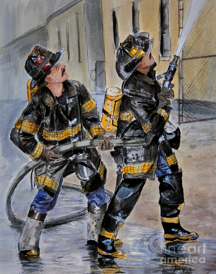Fire House Painting - First Due-engine  73 by Paul Walsh
