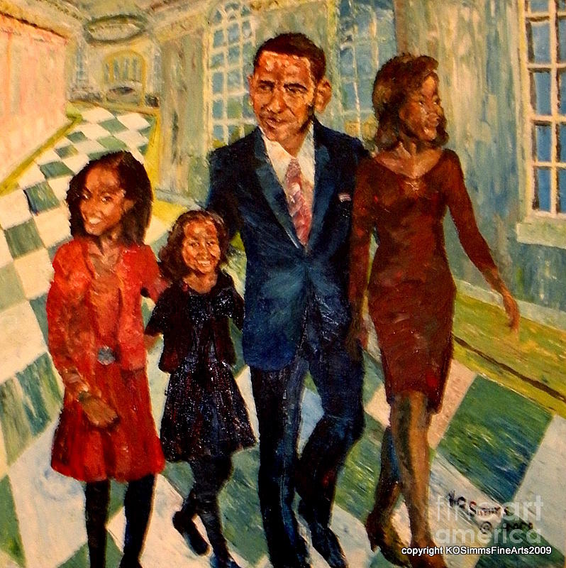 Painting - First Family Obamas by Keith OBrien Simms