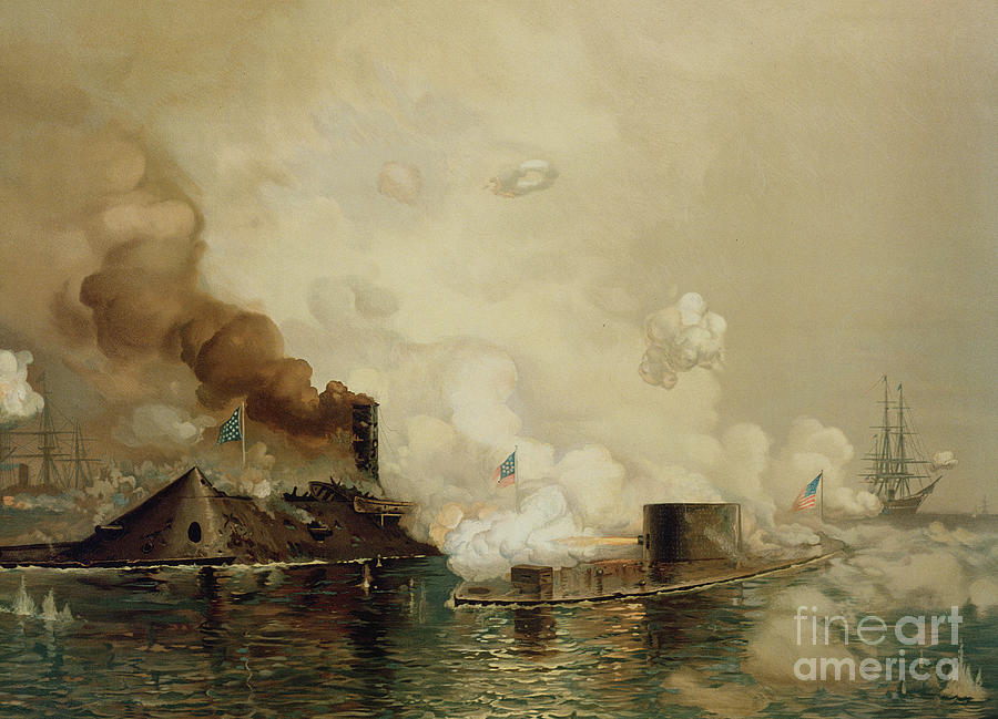 Boats Painting - First Fight Between Ironclads by Julian Oliver Davidson