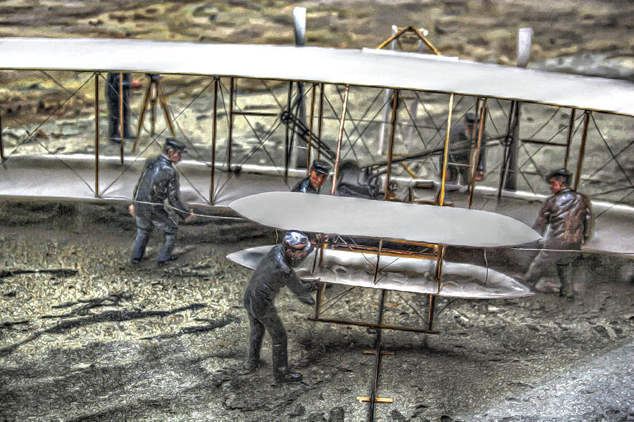 Airplane Digital Art - First Flight Wright Brothers by Randy Steele