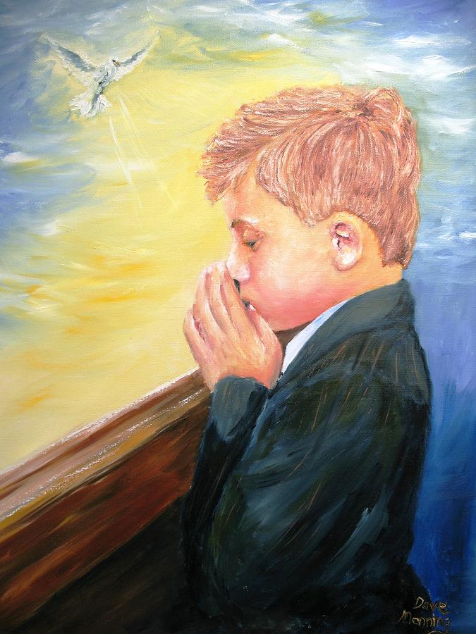 Portrait Painting - First Holy Communion by Dave Manning