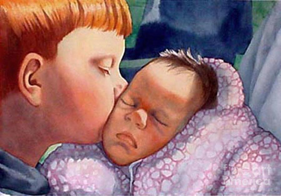 Portrait Painting - First Kiss by Gail Zavala