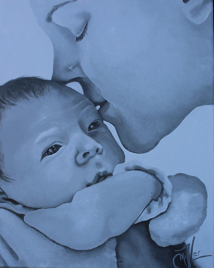 Baby Painting - First Kiss by Jackie Little Miller
