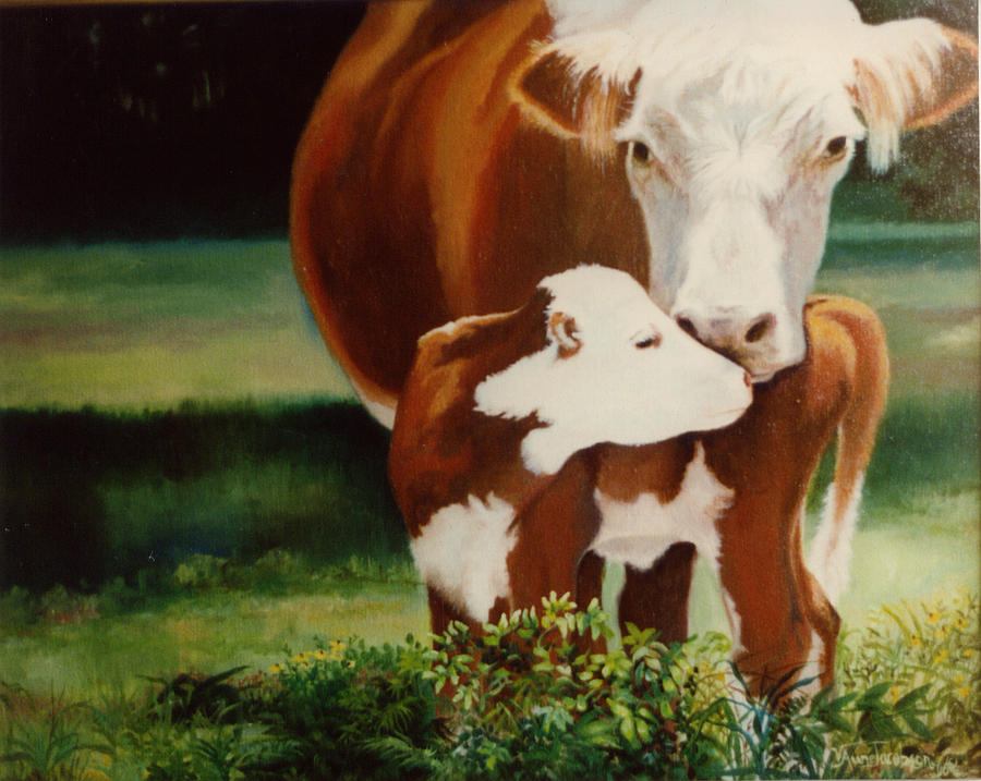 Calf Painting - First Kiss by Valerie Aune