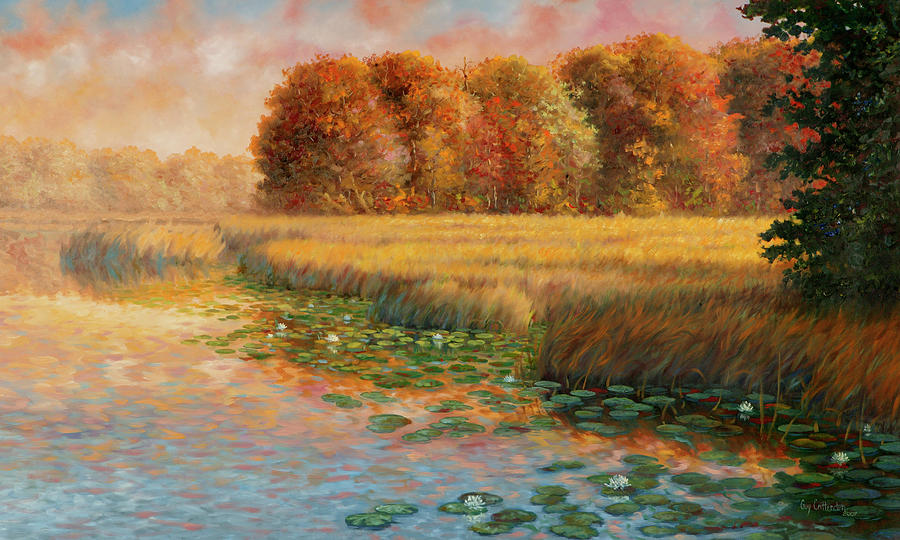 Autumn Trees Painting - First Light by Guy Crittenden