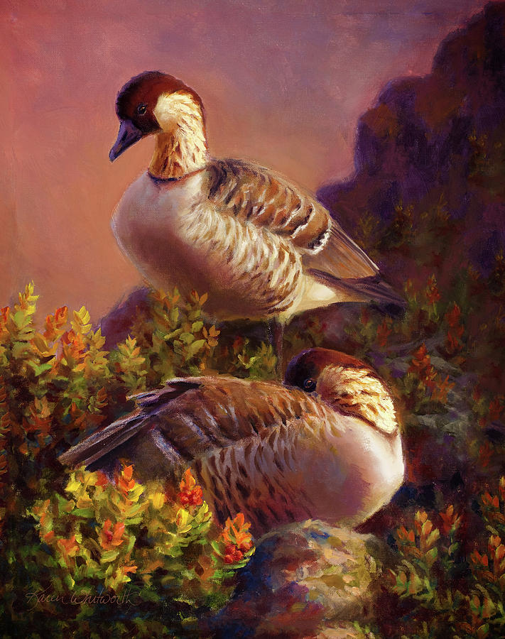 Karen Painting - First Light Nene Hawaiian Goose by Karen Whitworth