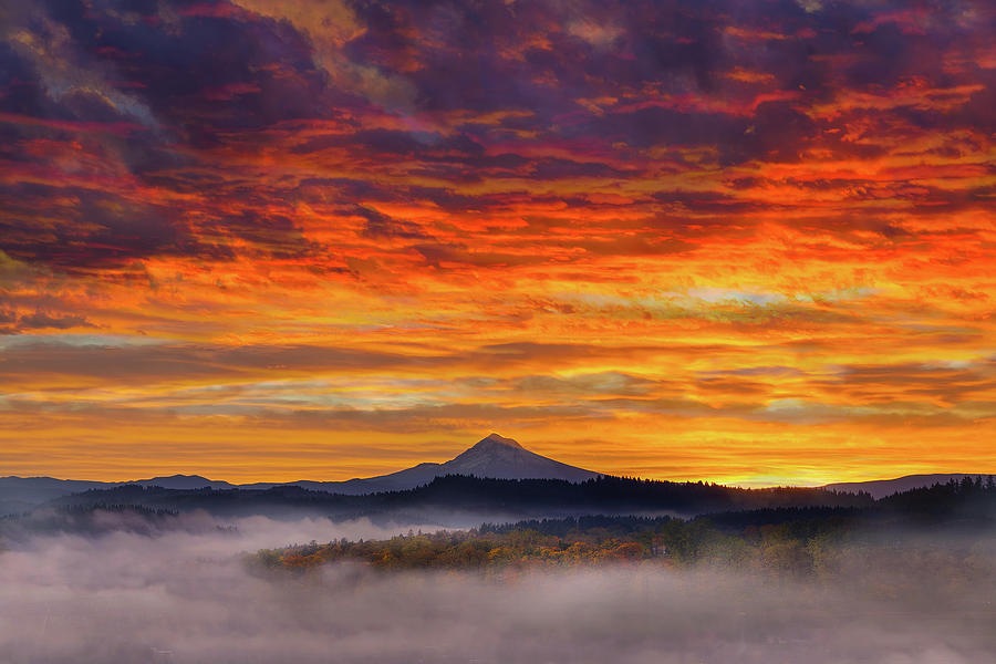 Sunrise Photograph - First Light On Mount Hood During Sunrise by David Gn