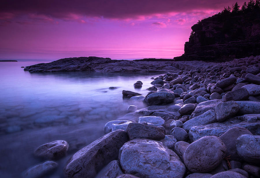 Landscape Photograph - First Light On The Rocks At Indian Head Cove by Cale Best
