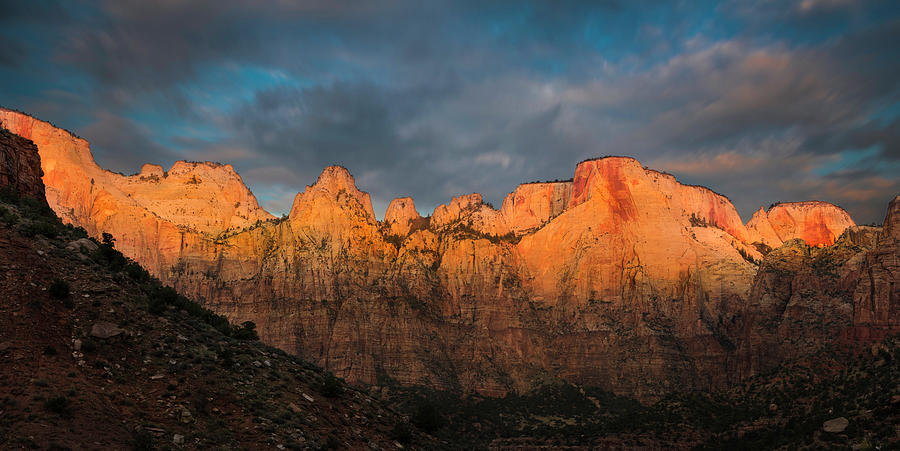 Zion Photograph - First Light On The Towers - Zion N.p.  by T-S Fine Art Landscape Photography