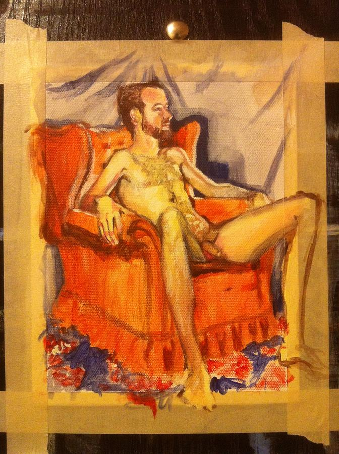 Acrylic Painting Painting - First Male Figure Study In Four Hour Session by Aaron Druliner