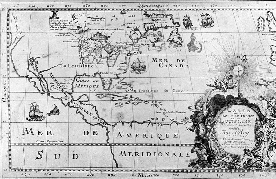 Map Photograph - First Map Of Louisiana by Crescent City Collective
