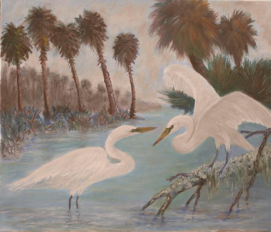 Egret Painting - First Meeting by Ben Kiger