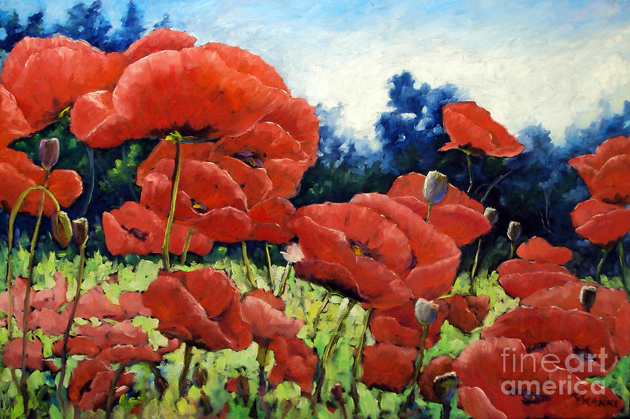Poppies Painting - First Of Poppies by Richard T Pranke