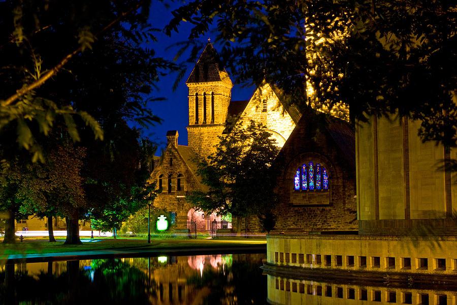 Church Night Water Blue Black Windows Refection Photograph - First Presbyterian From Kleinhans by Don Nieman