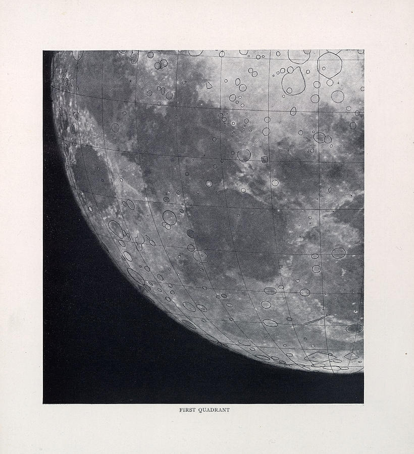 First Quadrant - Surface Of The Moon - Lunar Surface - Selenographia - Celestial Chart Drawing