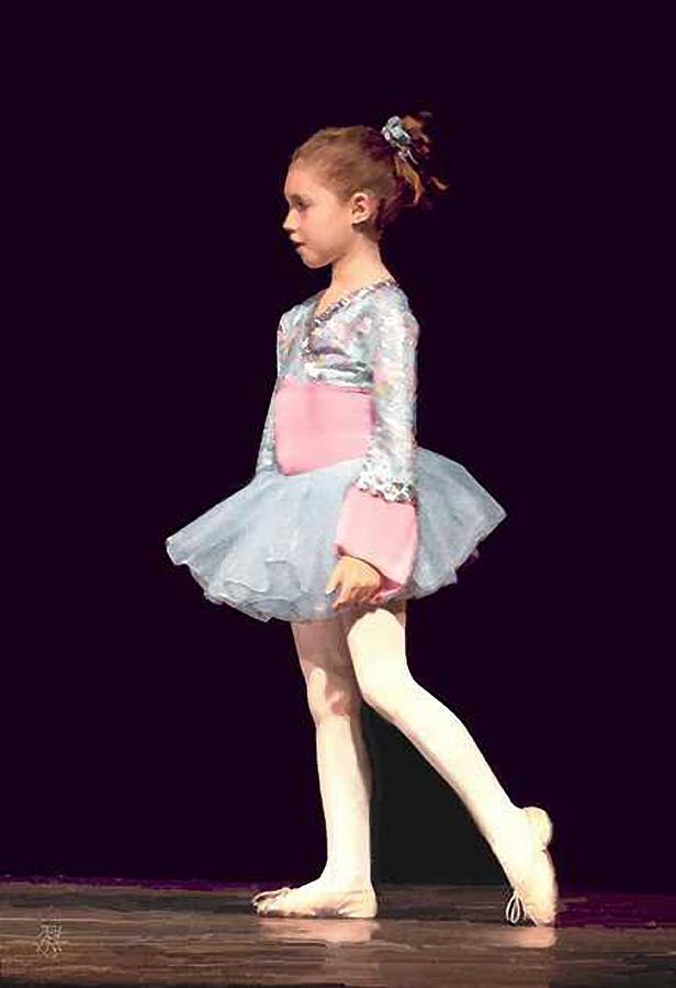 Child Ballerina. Digital Art - First Recital by John Helgeson