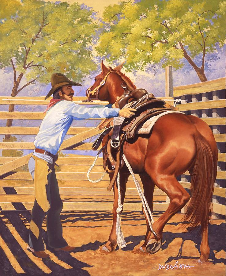 Cowboy Painting - First Saddling by Howard Dubois