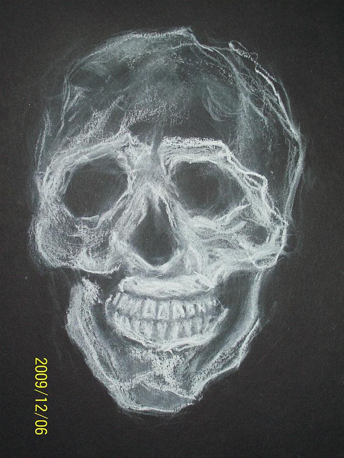 Skulls Drawing - First Skull Work by Nancy  Caccioppo