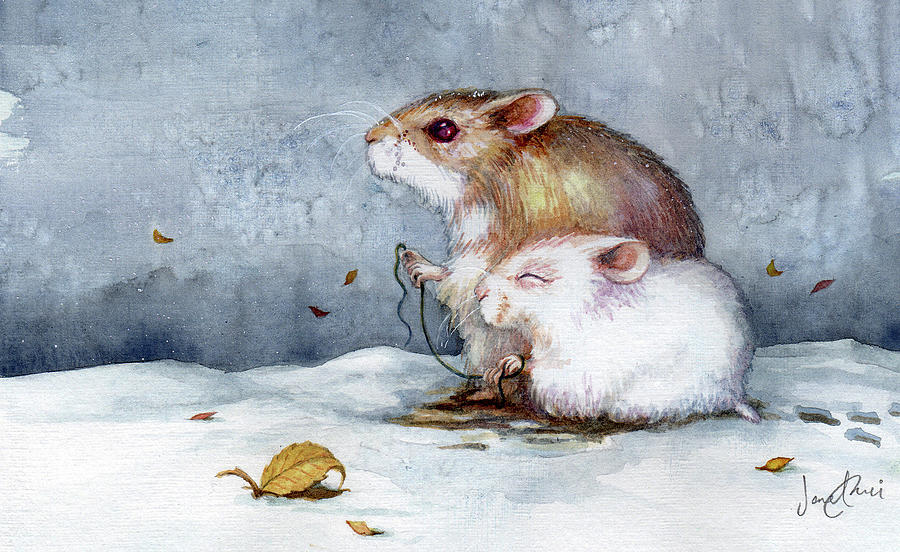 Hamster Painting - First Snow by Janet Chui