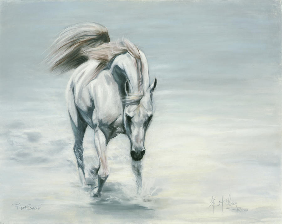 Horse In Snow Pastel - First Snow by Kim McElroy