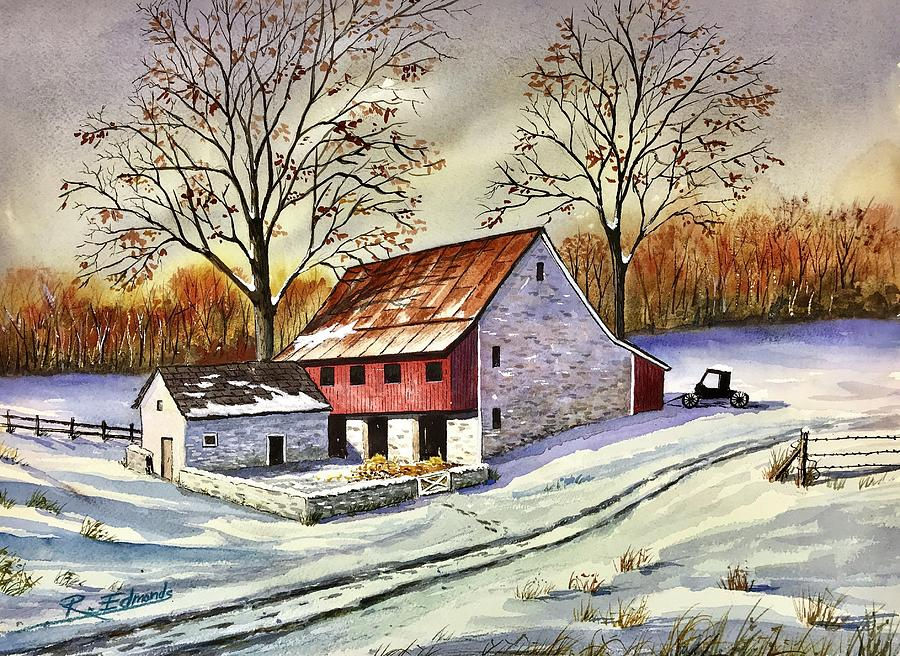 Watercolor Painting - First Snow by Raymond Edmonds