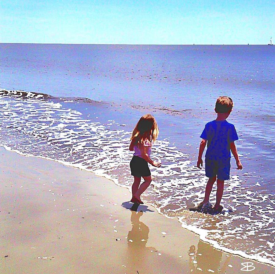 Children Digital Art - First Time At The Beach by Mark Baranowski