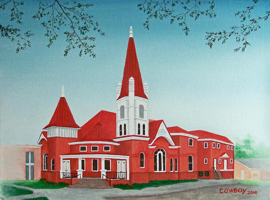 Church Painting - First United Methodist Church  Terrell Tx by Darren Yarborough