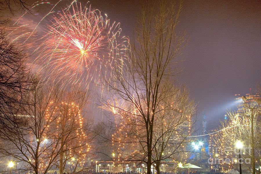 Boston Photograph - Firstnight Fireworks by Susan Cole Kelly