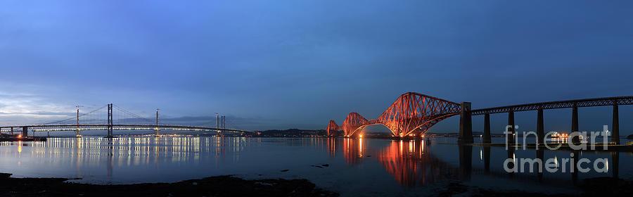 Railway Bridge Photograph - Firth Of Forth Bridges At Twilight - Panorama by Maria Gaellman