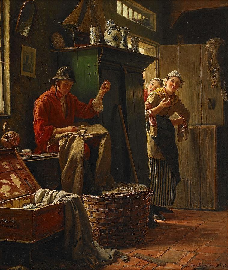 Man Painting - Fischerstube by Ferdinand Fagerlin