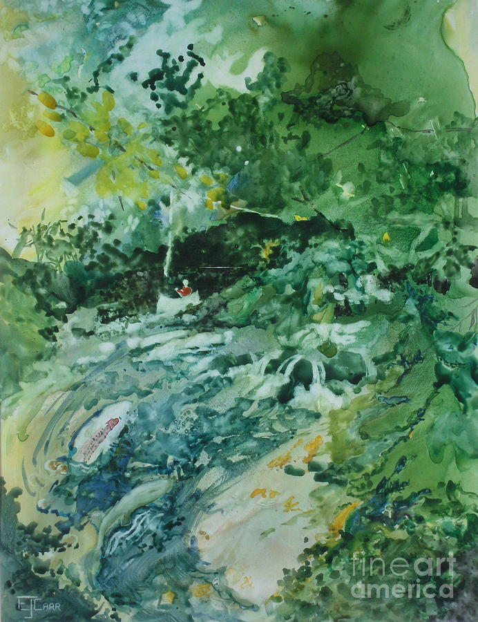 Green Painting - Fish Ahead by Elizabeth Carr