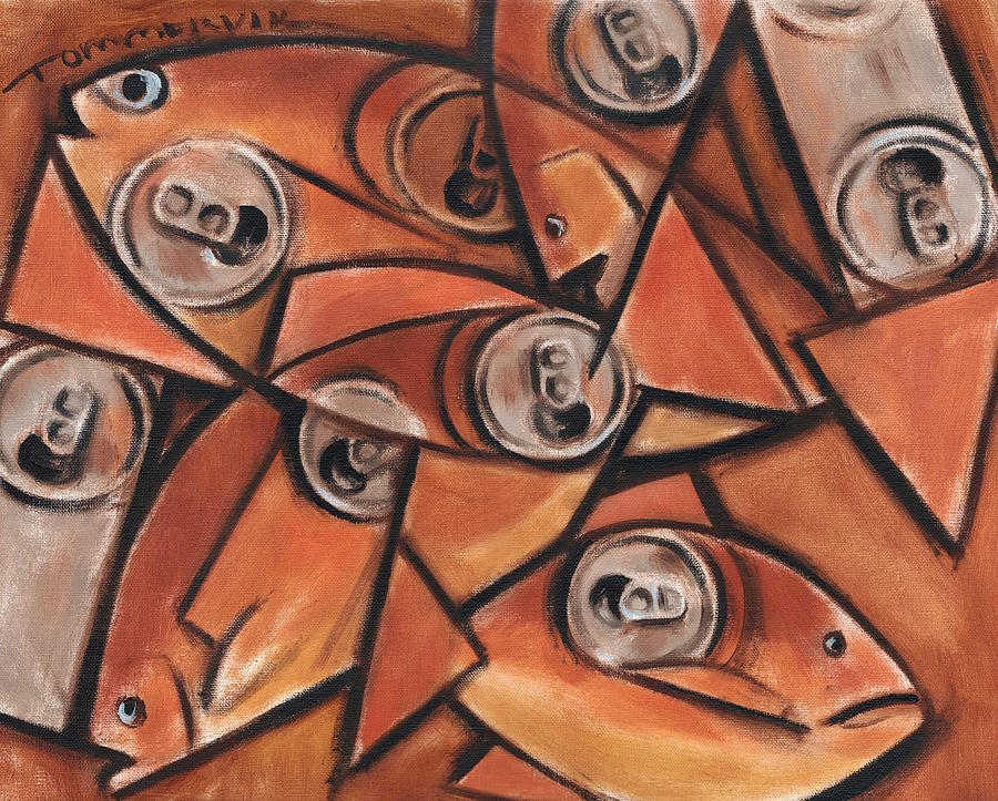 Fish Painting - Tommervik Fish and Cans Art print by Tommervik