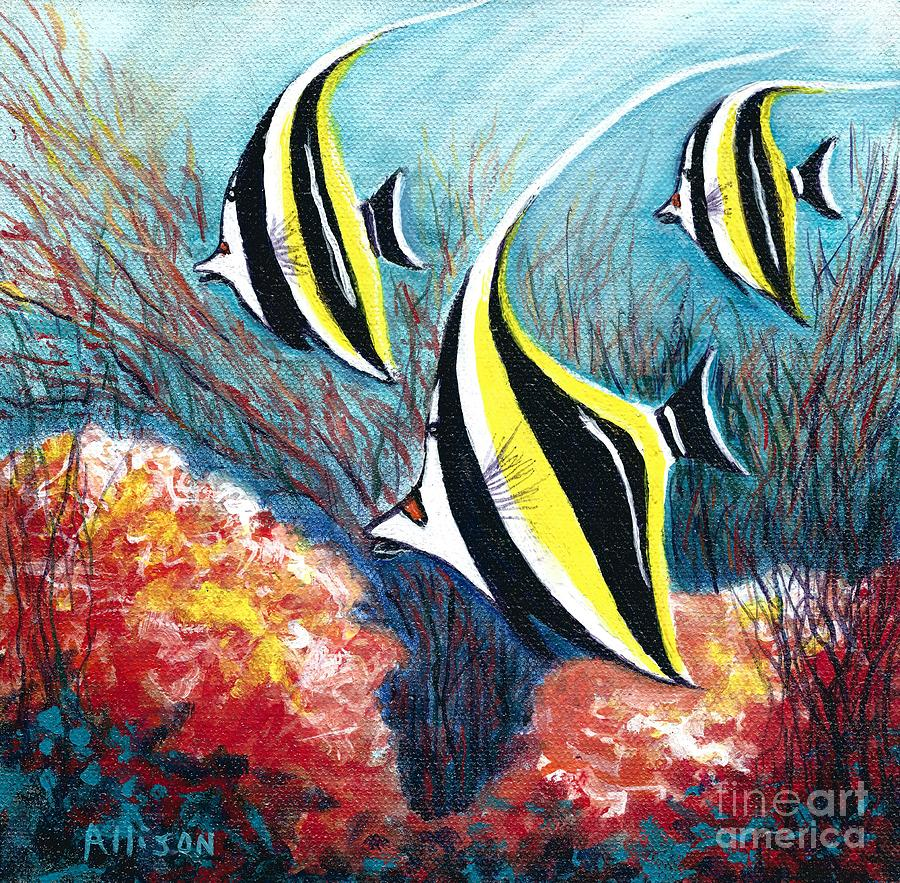 Moorish Idol Fish And Coral Reef Painting by Allison Constantino