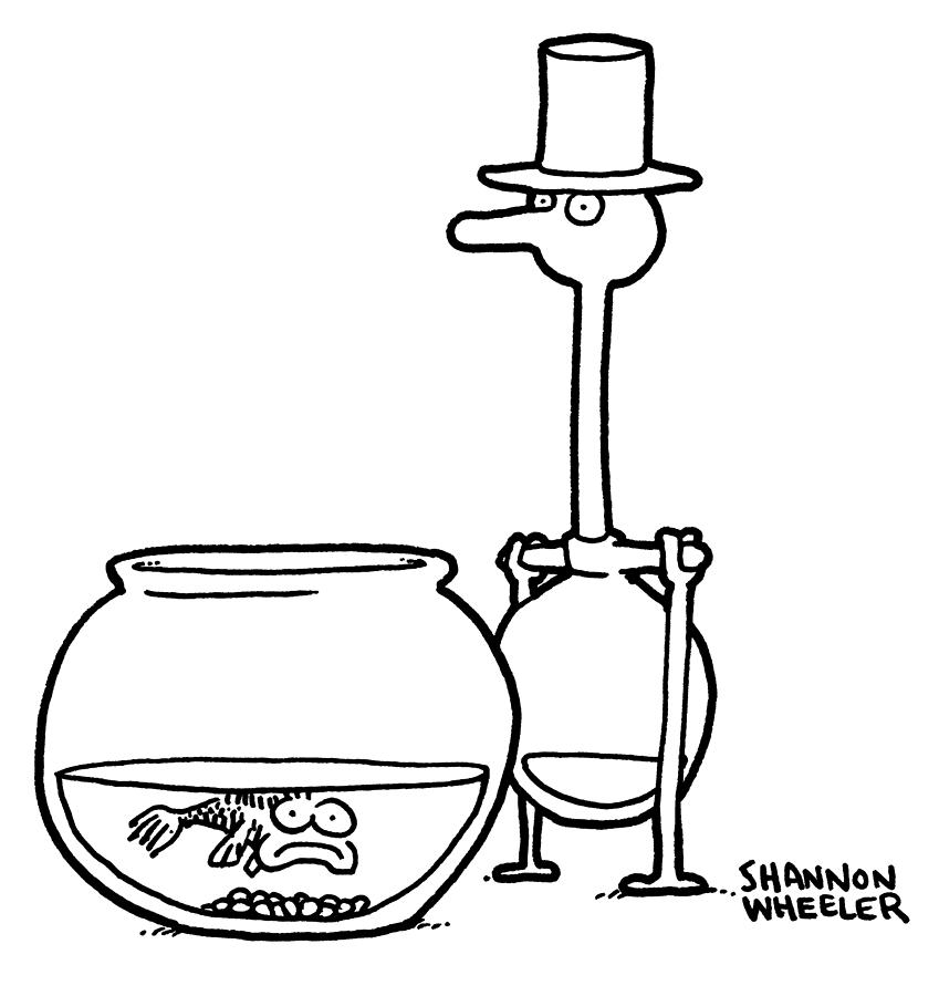 Fish And Drinking Bird Drawing by Shannon Wheeler