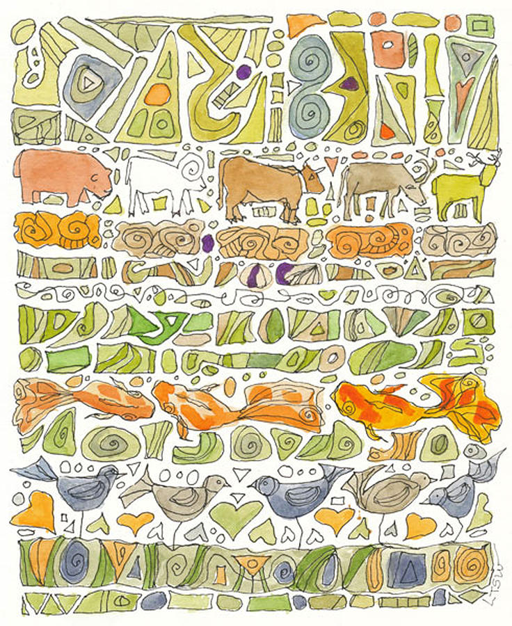 Cows Drawing - Fish And Fowl by Linda Kay Thomas