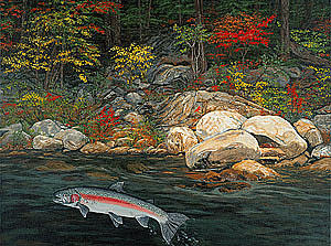 Print Painting - Fish Art Jumping Silver Steelhead Trout Art Nature Artwork Giclee Wildlife Underwater Wall Art Work by Baslee Troutman