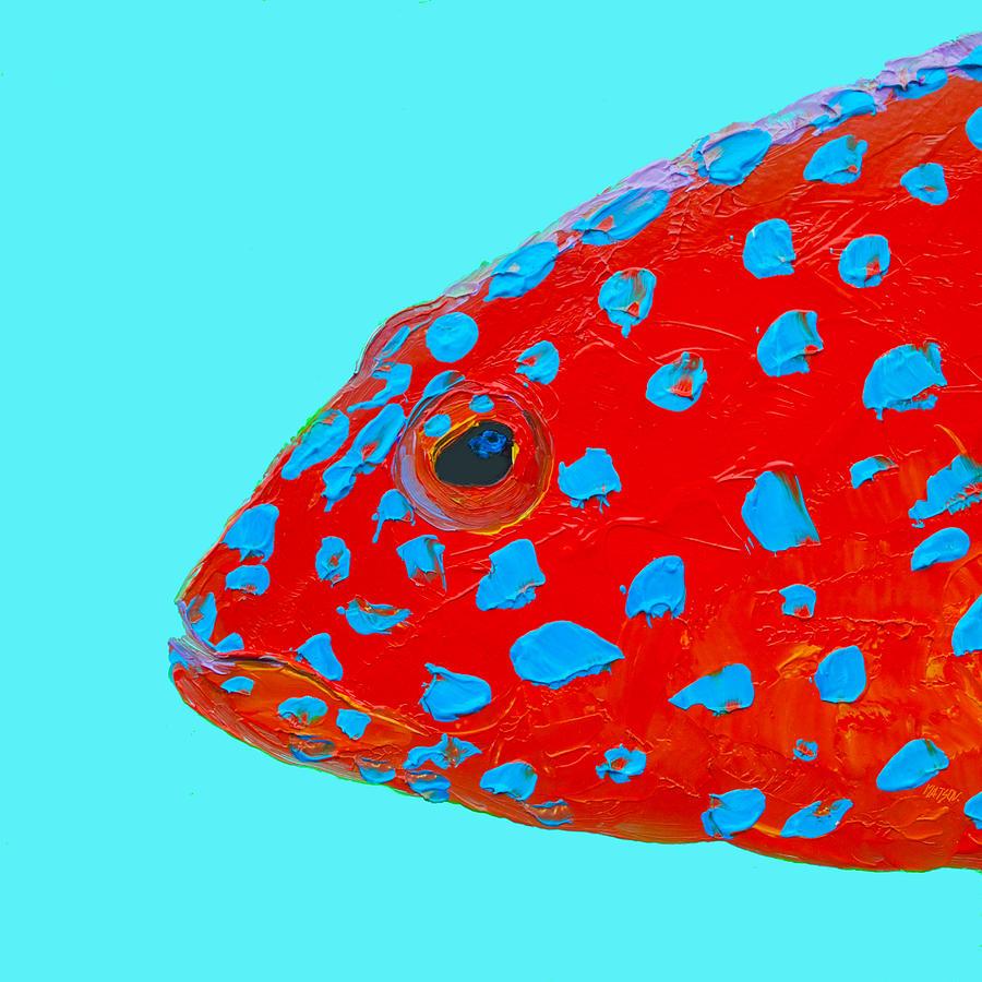Fish Painting - Fish Art - Strawberry Grouper by Jan Matson
