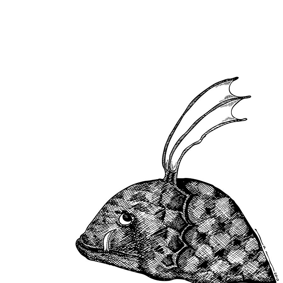 Drawing Drawing - Fish Beast by Karl Addison