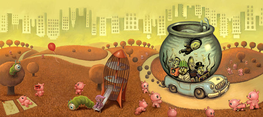 Surreal Painting - Fish Circus - Landscape by Luis Diaz