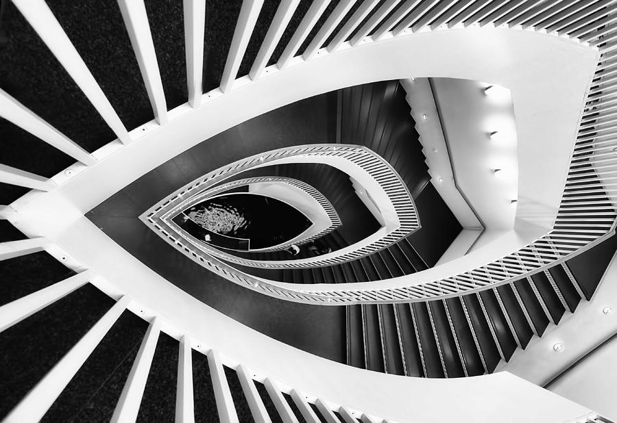 Horizontal Photograph - Fish-eye Abstract Staircase by Elena Kovalevich
