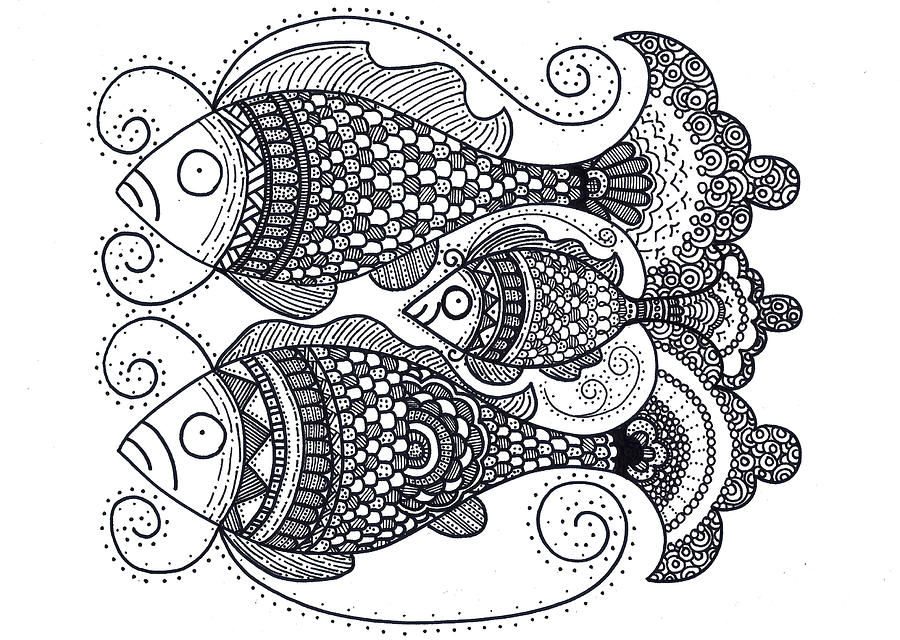 Caroline Drawing - Fish Family by Caroline Sainis